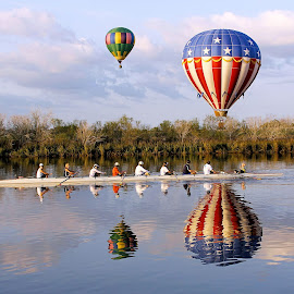 Floating and Rowing by Jim Stough - Transportation Other ( water, hot air balloon, reflection, rowing, texas, houston, ballunar festival, nassau bay, balloon, boat, suddenjim, skull, floating,  )