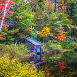Autumn Hideaway  by Karen Celella - Landscapes Mountains & Hills ( water, mountains, waterfalls, autumn, colors, fall, trees, nh, landscape, kancamagushighway, color, colorful, nature )