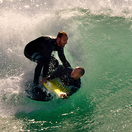 Two Wedge Surfers by Jose Matutina - Sports & Fitness Surfing ( orange county, surfer, california, sport, newport beach, the wedge )