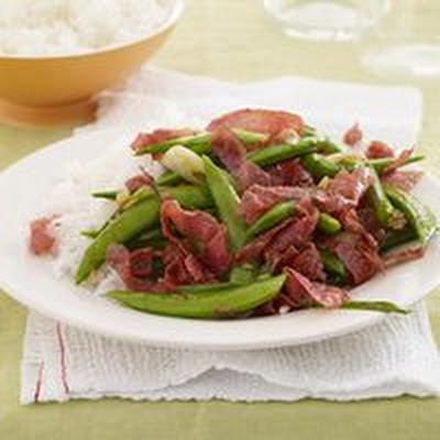 Sugar Snap Peas-and-Salami Stir-Fry