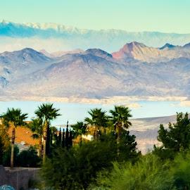 Vegas mountains by Vaibhav Jain - Landscapes Mountains & Hills ( las vegas, hills, mountain, blue, green, plants, land, vegas mountains, lake )