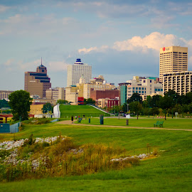 Memphis Summer by Allison Young - City,  Street & Park  Skylines ( skyline, memphis, tennessee, landscape, downtown, mississippi, city, river,  )
