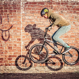 by Ross Knibbs - Sports & Fitness Cycling ( england, jump bike, bike, fitness, graffiti, cycling, bmx, sport, bricks, evesham, bretforton )