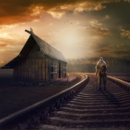 Old man (Lelaki Tua) by Juprinaldi Photoart II - Digital Art Things ( railrod, oldman     home      sky     softlight      cloud, oldman )