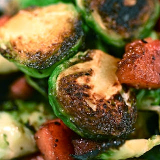 Seared Brussels Sprouts with Bacon Lardons