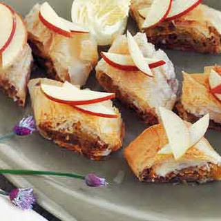Pear, Onion, and Dry Jack Cheese Strudels