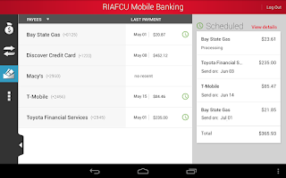 Screenshot of RIAFCU Mobile Banking