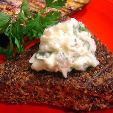 Pepper- Grilled Tuna Steak With Parsley-  Garlic Butter