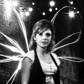 Light Fairy by Edith Melgar - Abstract Light Painting ( angel, light painting, painting with light, wings, woman, fine art, night shot )