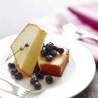 Pound Cake with Blueberries and Lavender Syrup