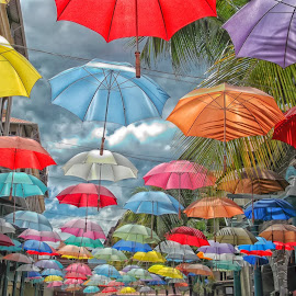 Le Caudan Waterfront by Arisha Singh - City,  Street & Park  Street Scenes ( colour, clouds, colourful, sky, umbrellas, mauritius, street, walkway, waterfront )