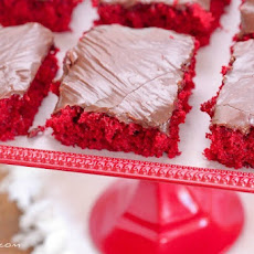 Red Velvet Sheet Cake with Nutella Fudge Icing