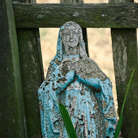 There is no miracle, paint goes off by Cassandra G - Artistic Objects Antiques ( old, destroyed, mother mary, antique, abandoned, statuette )