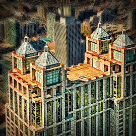 Looking down on metropolis by Izzy Kapetanovic - City,  Street & Park  Skylines ( skyline, buildings, chicago, city )