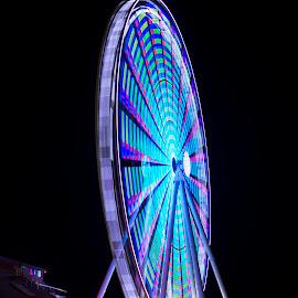 Blue Wheel by Gabriel Gutierrez - City,  Street & Park  Night ( night photography, seattle, pier, travel, ferris wheel )