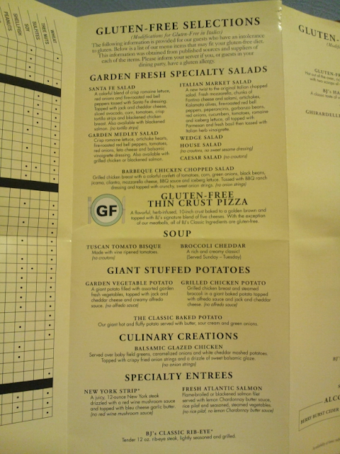 specific GF entree selections