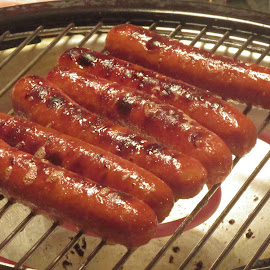 Grilled Hot Dogs by Titus Belgard - Food & Drink Cooking & Baking ( grill, char, national hot dog day, indoors, heat, hot dogs )