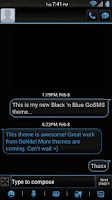Screenshot of Black 'n Blue GoSMS Theme