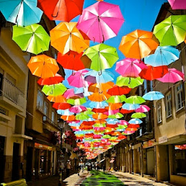 Street in Portugal by Tyrell Heaton - Instagram & Mobile iPhone ( iphone4, umbrellas, portugal )