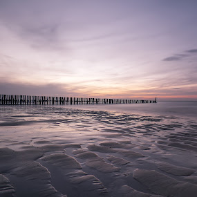 Cadzand Beach by Dominic Schroeyers - Landscapes Beaches ( water, sand, sky, milk, waves, colors, sunset, sea, long exposure, beach, poles )