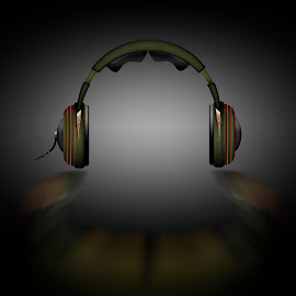 Headphone by Dietmar Kuhn - Illustration Products & Objects ( real, reflection, audio, cable, shine,  )