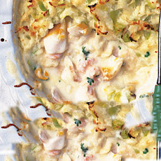 Fish Pie With Prawns And Cheesy Leek Mash Topping