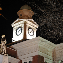 Clock Tower by Thomas Bouldin - Buildings & Architecture Architectural Detail ( timed, minuteman, clock, white, architecture, object )