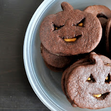 Chocolate Peanut Butter Jack-O-Lantern Cookies