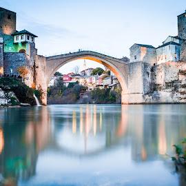 Old Bridge Blues by Zeljko Tomic - Buildings & Architecture Bridges & Suspended Structures ( exposure, old, blue, bluelight, bridge, hour, long, river )