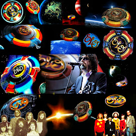 The Many Colors, Shades & Ships Of Jeff Lynne and The Electric Light Orchestra by Vince Scaglione - Digital Art People ( music, shades, spaceship, colors, electric, ships, rock, elo, orchestra, space, group, light )
