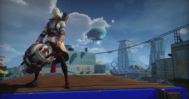 Insominac has a playful pop at Ubisoft making a playable female assassin for Sunset Overdrive