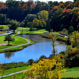 Golf Course Beauty by Marc Loranger - Sports & Fitness Golf ( water, fall, golf, landscape, colours )