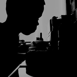 Birthday Candles. by Katie Fleming - People Family ( blackandwhite, cake, candle, birthday, black and white, silhouette, shine, boy, nose )