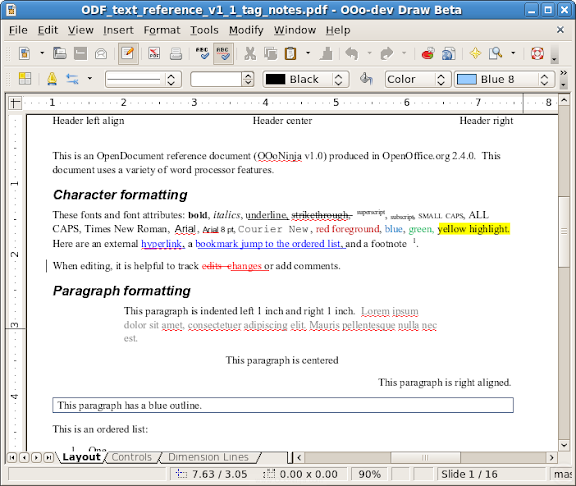 Screenshot of OpenOffice.org Draw showing the result of the PDF import extension