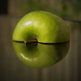 Apple by Brian Knott - Food & Drink Fruits & Vegetables ( fruit, reflection, green, apple, half )