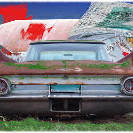 Cadillac on the Ground by Joerg Schlagheck - Digital Art Things ( surreal., car, old, style, cadillac, wings, ground, weird, rust )