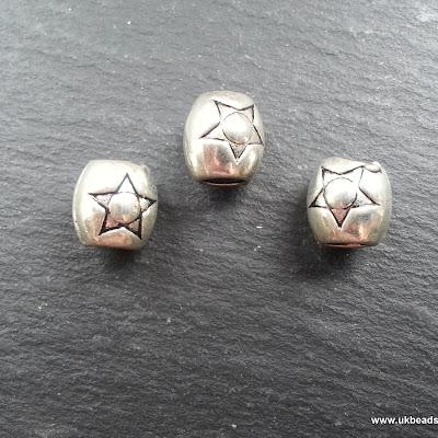 European Bead Silver Star Barrel  x1