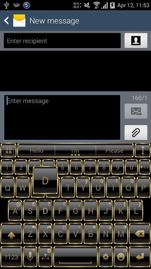 Theme for A.I.type Frame Gold Screenshot 1