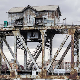 Chicago Train Bridge by Andy Vic Lindblom - Buildings & Architecture Bridges & Suspended Structures ( amtrak, metal, lift bridge, train, chicago, bridge, rust )