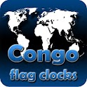 Republic Congo flag clocks icon