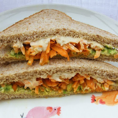 Carrot, Hummus & Avocado Sandwich