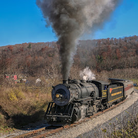 Heading Up The Mountain by Sharon Horn - Transportation Trains ( cumberland, steam engine, frostburg, engine, railroad, locomotive, maryland, train )