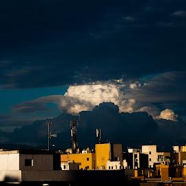 Clouds over Alicante by Hans-Börje Jansson - Landscapes Cloud Formations ( clouds, evening, spain, alicante, city )