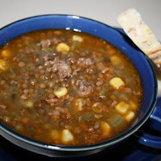 Sausage and Black Lentil Stew