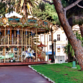 Carousel in park, Nice, France by Jane Spencer - City,  Street & Park  City Parks ( park, merry-go-round, nice, carousel, france, french riviera )