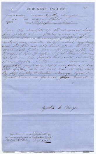 Agatha Singer's deposition. PROV, VPRS 24/P0 Inquest Deposition Files, unit 478, item 1885/145