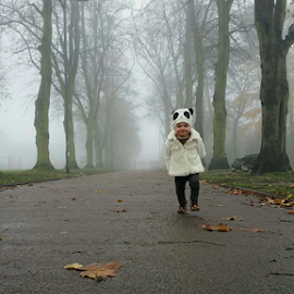 Morning walk by Alan (Mop) Lewis - Instagram & Mobile Android ( child, park, autumn, leaves, morning, walk, hat )