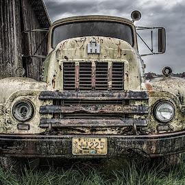 Better Days by Jeremy Hill - Transportation Automobiles ( old, barn, grass, truck, rusty, storm, rural, rain )