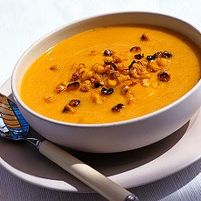 Pumpkin Soup with Toasted Sweetcorn