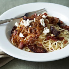 Pasta with Caramelized Onions, Roasted Balsamic Figs, Bacon and Goat Cheese